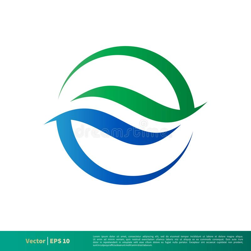 Kreis-dekorativer Wasser-Wellen-Ikonen-Vektor Logo Template Illustration Design Vektor ENV 10 stock abbildung