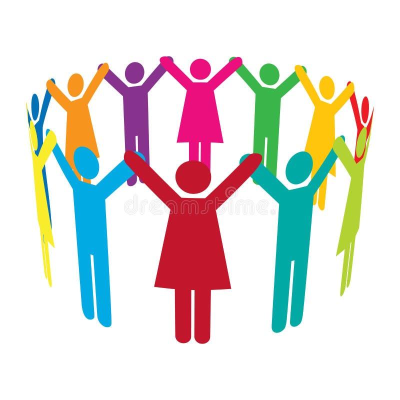 Kreis der bunten Leute mit den Händen oben lizenzfreie abbildung
