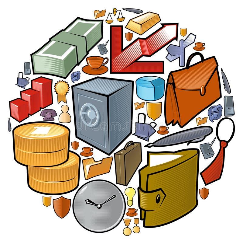 Kreis der Geschäftsikonen lizenzfreie abbildung