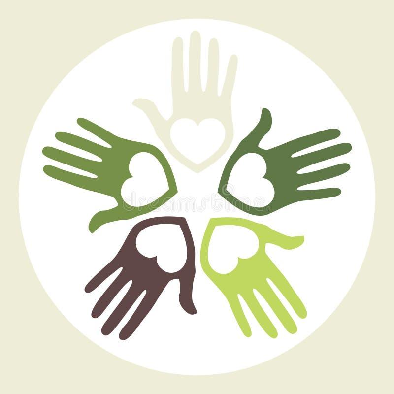 Kreis der liebevollen Hände. lizenzfreie abbildung