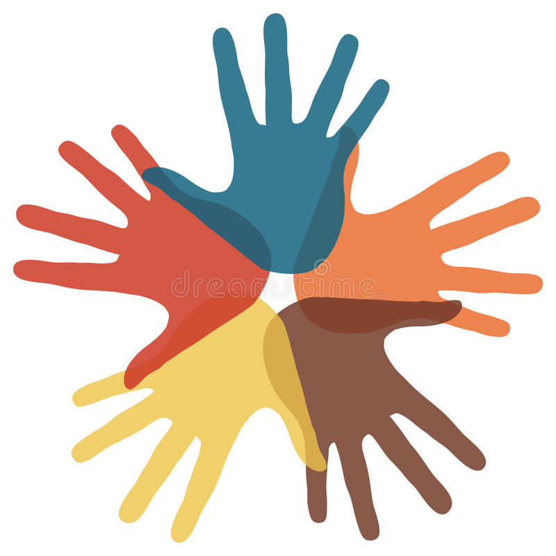 Kreis der liebevollen Hände. vektor abbildung