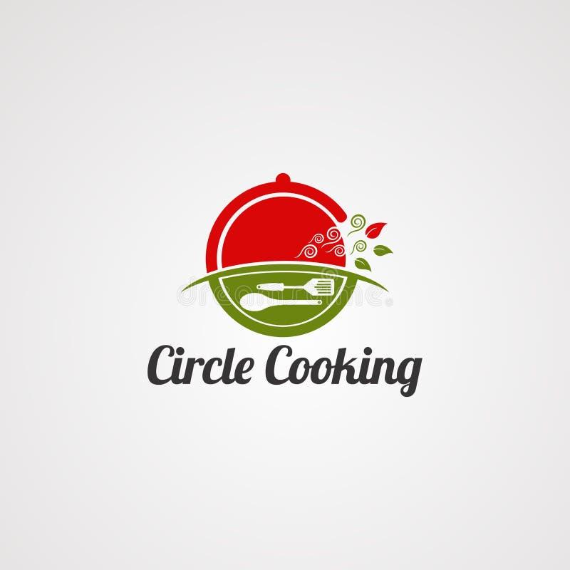 Kreis, der mit natürlichem Konzeptlogovektor, -schablone, -ikone und -element für Geschäft kocht vektor abbildung
