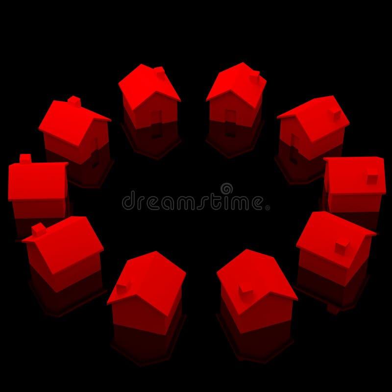 Kreis der roten Häuser stock abbildung