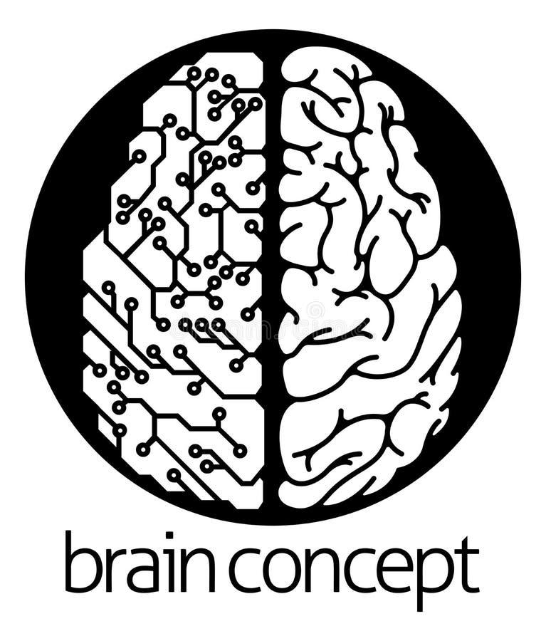Kreis des elektrischen Stromkreises des menschlichen Gehirns stock abbildung