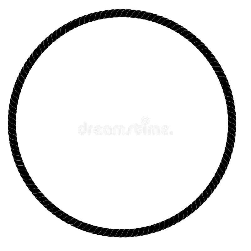Kreis-Feld vom schwarzen Seil für Ihr Element-Design, lokalisiert auf Weiß vektor abbildung