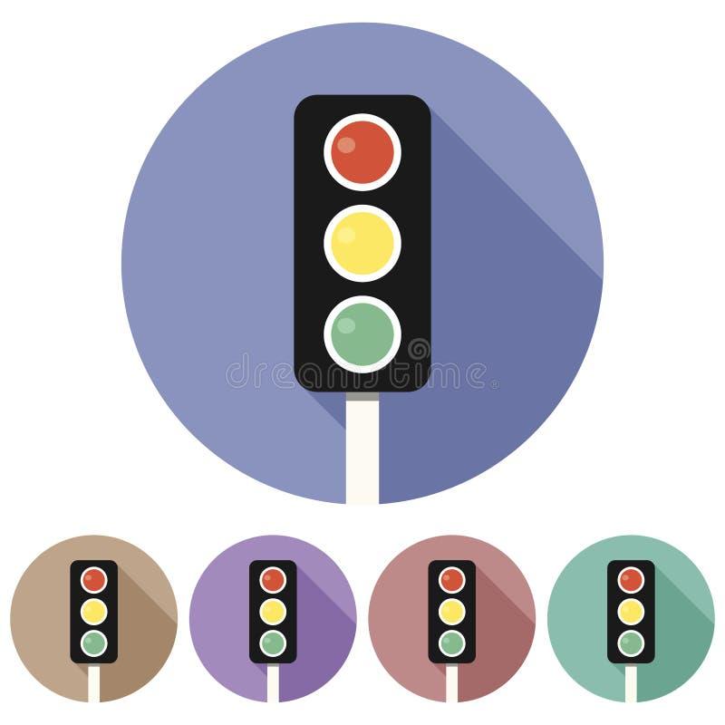 Kreis-, flache Ampel-Pfostenikone Fünf Farbveränderungen stock abbildung