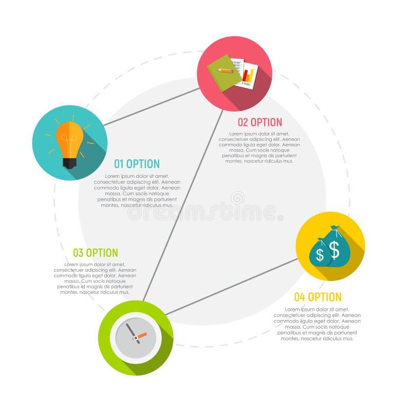 Kreis Infographic-Element-Schablonen für Geschäfts-Arbeitsfluss-Darstellung mit Schritt-Zeitachse oder Job Options Vector lizenzfreie abbildung