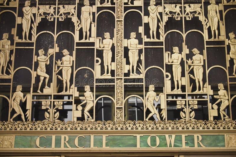 Kreis-Kontrollturm-Fassade - Indianapolis stockfotografie