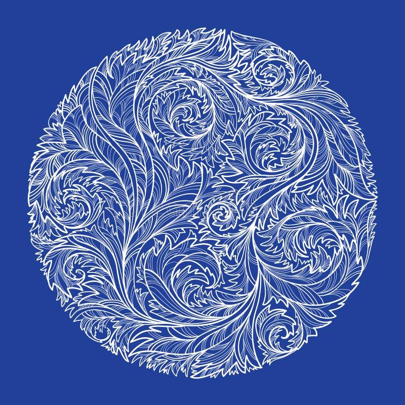 Kreis mit weißem Spitzen- eisigem Muster auf blauem Hintergrund lizenzfreie abbildung