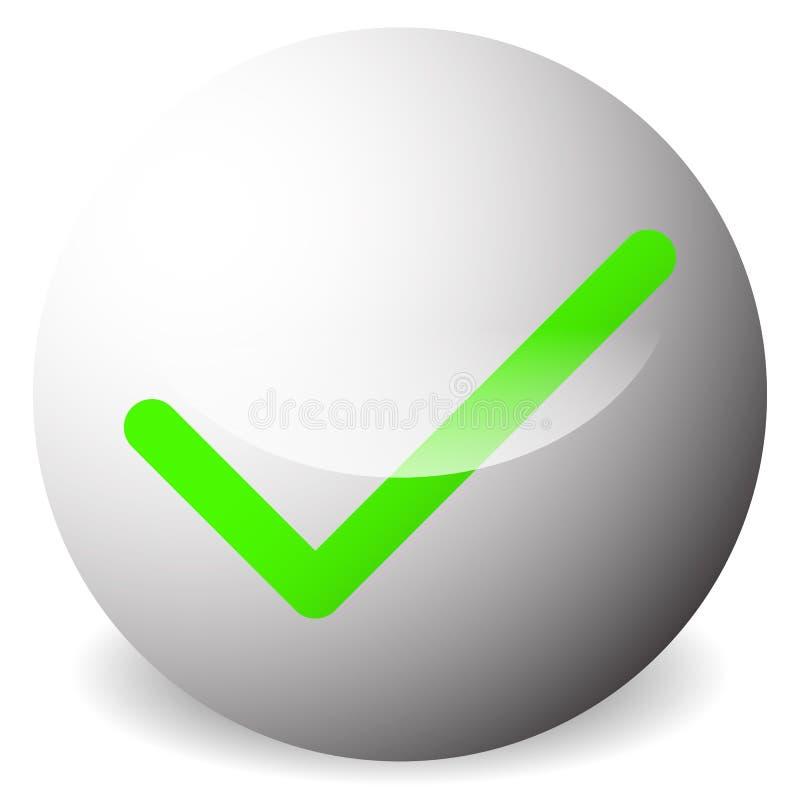 Kreis mit Zecke, Häkchensymbol Genehmigen Sie, korrigieren Sie, nehmen Sie, r an lizenzfreie abbildung