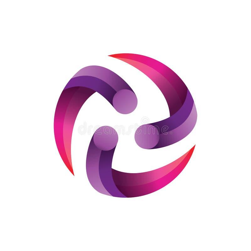 Kreis-Mitte-Steigung Logo Vector lizenzfreie abbildung
