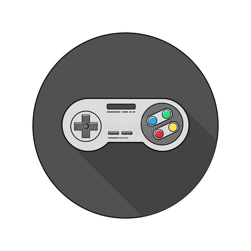 Kreis-, Retro- Videospielprüferikone Dunkles Farbschema lizenzfreie abbildung