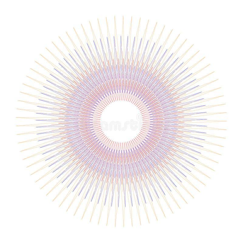 Kreis-rundes gelegentliches konzentrisches buntes auf weißem Hintergrund mit Vektorillustration vektor abbildung