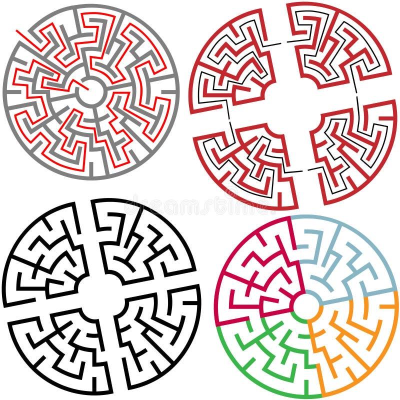 Kreis-und Lichtbogen-Labyrinth verwirren Teile mit Lösung stock abbildung