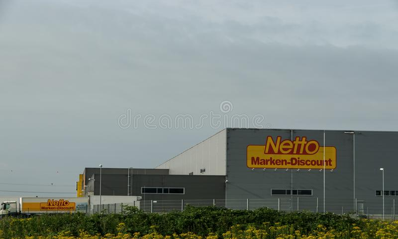 Kreis Viersen Germany June 24th 2018: Netto discounter central storage and distribution Advertisement on truck claims to have the stock image
