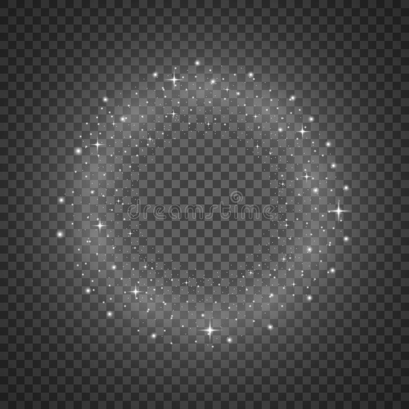 Kreis von Funkelnpartikeln, weiße Farbe lizenzfreie abbildung