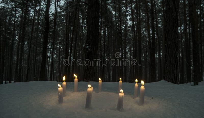 Kreis von Kerzen im dunklen Winterwald stockfoto