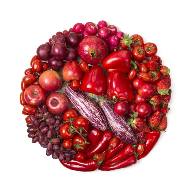 Kreis von roten Obst und Gemüse von stockfoto