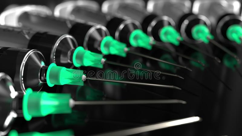 Kreis von Spritzen mit Nadeln gegen schwarzen Hintergrund, Makro-Wiedergabe 3D lizenzfreie stockfotografie