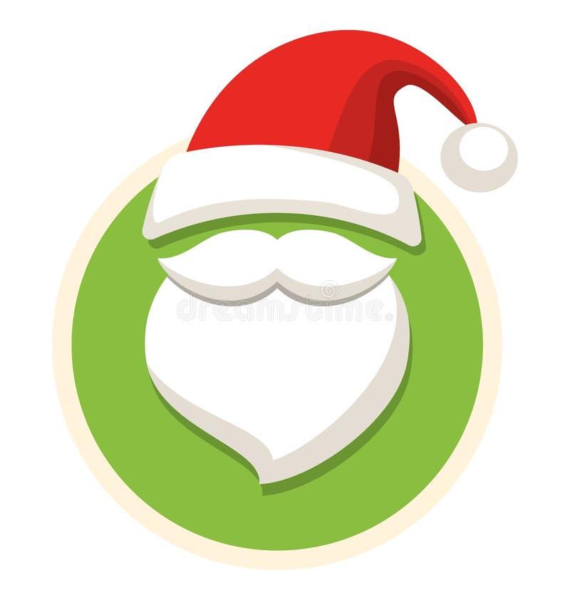 Kreis-Weihnachtsaufkleber-Ikone flach mit Santa Hat und Bart Isolat lizenzfreie abbildung