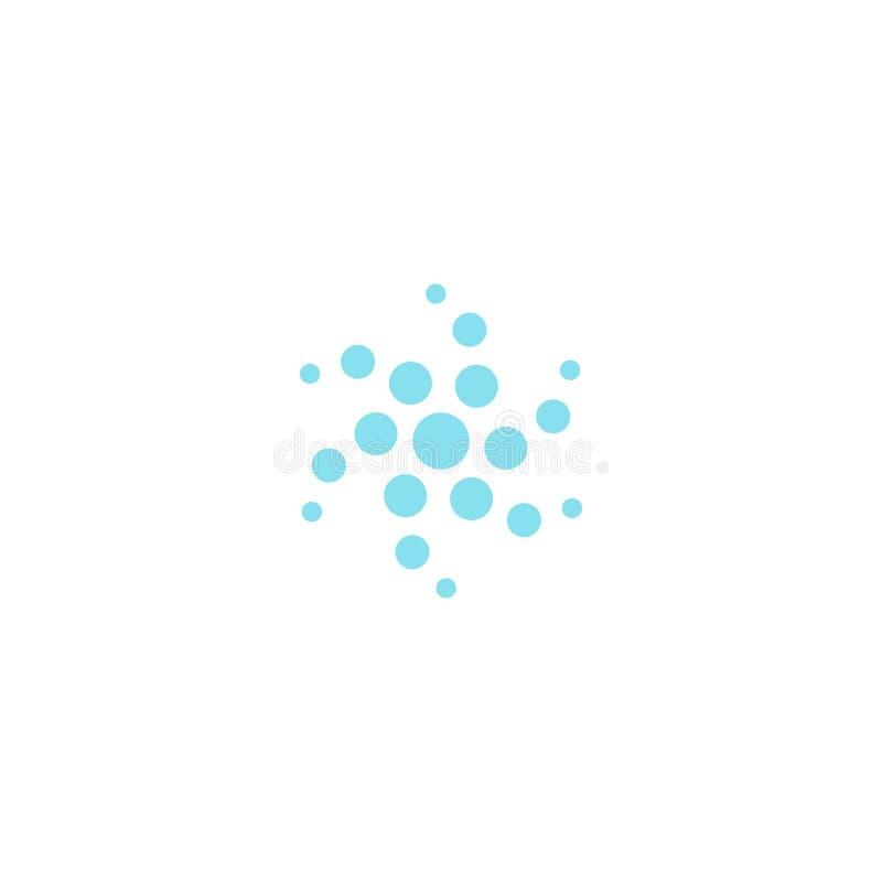 Kreis-wirbelnde Punktvektorikone Luft oder Wasserreinigungs- und -belüftungslogoschablone Rundes Technologiefirmenzeichen einfach lizenzfreie abbildung