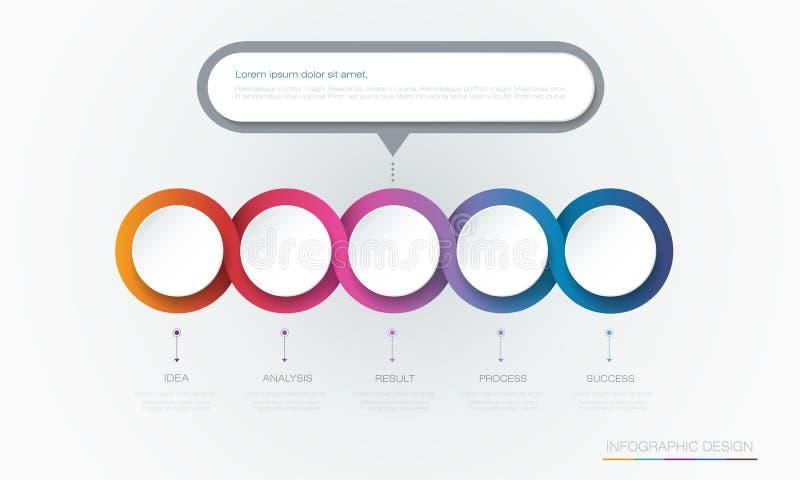 Kreisaufkleber-Schablonendesign Vektor Infographic 3d Infograph mit 5 Zahlwahlen oder -schritten stock abbildung