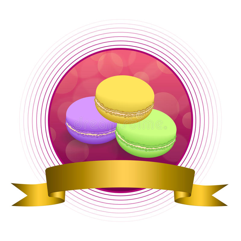 Kreisband-Rahmenillustration des abstrakten Hintergrundlebensmittelrosamakronengelbs violette purpurrote grünes Gold vektor abbildung