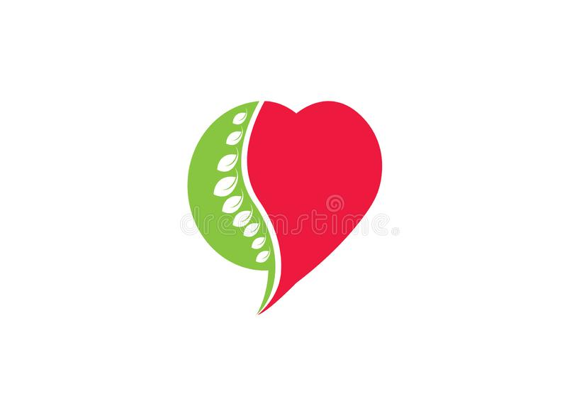 Kreisbereich ein Rückenmark für medizinisches und Herz für Logoentwurf vektor abbildung
