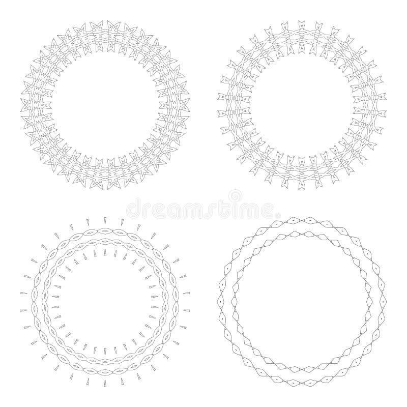Kreisdesignschablonen Runde dekorative Muster Satz der kreativen Mandala lokalisiert auf Weiß stockbild