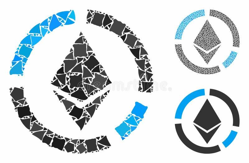 Kreisdiagramm des ätherischen Kreises Mosaikbild der geregneten Stücke stock abbildung