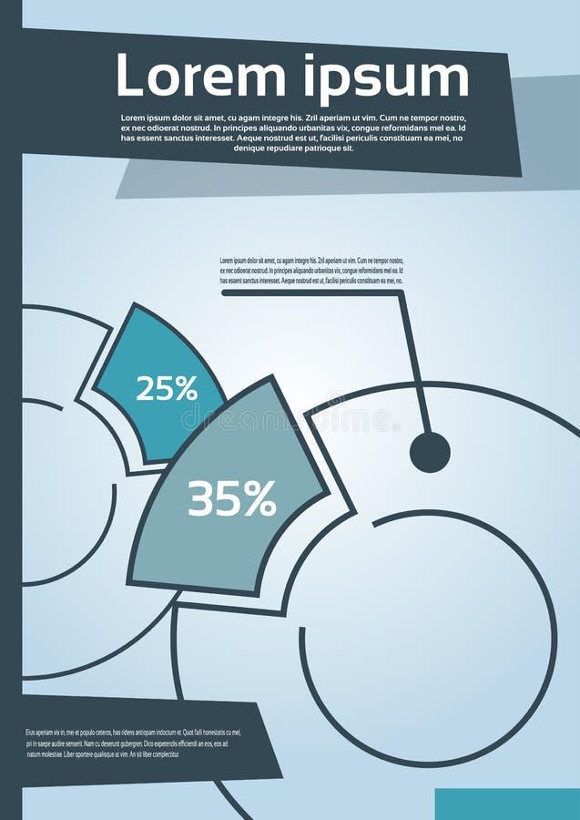 Kreisdiagramm mit Prozentsatz-Finanzdiagramm-Flieger lizenzfreie abbildung