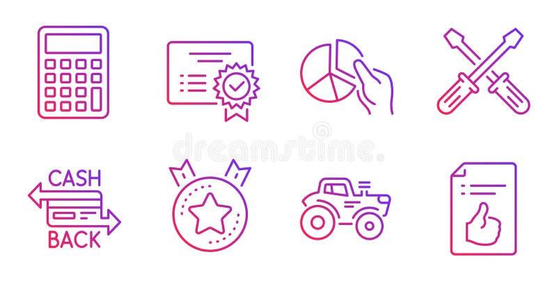 Kreisdiagramm, Zertifikat und ordnender Sternikonensatz Taschenrechner-, Traktor- und Cashback-Kartenzeichen Vektor stock abbildung
