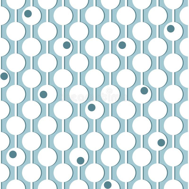 Kreise auf vertikalen Führungsleinen Nahtloses geometrisches Muster Weiß auf Blau stock abbildung