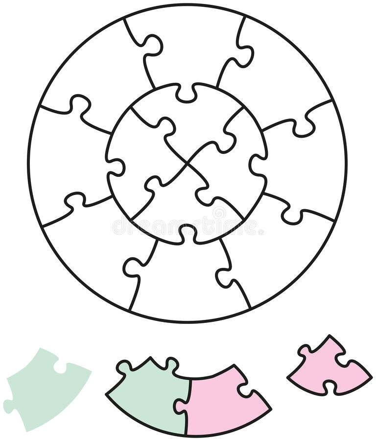 Kreise des Puzzle-zwei vektor abbildung