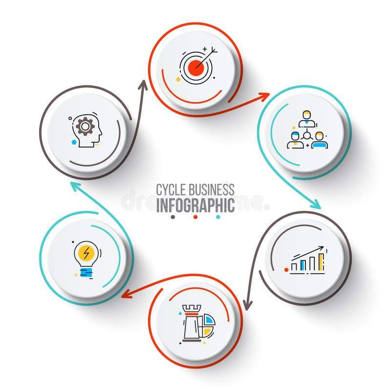 Kreise mit Pfeilanschlägen für infographic lizenzfreie abbildung