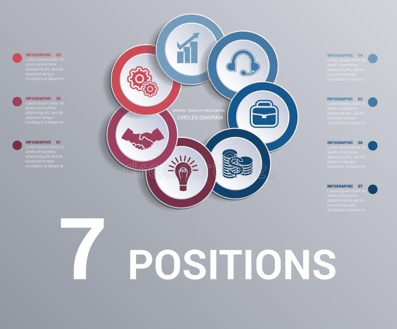 Kreise stellen, Datenelemente Schablone infographics 7 Positionen grafisch dar stock abbildung
