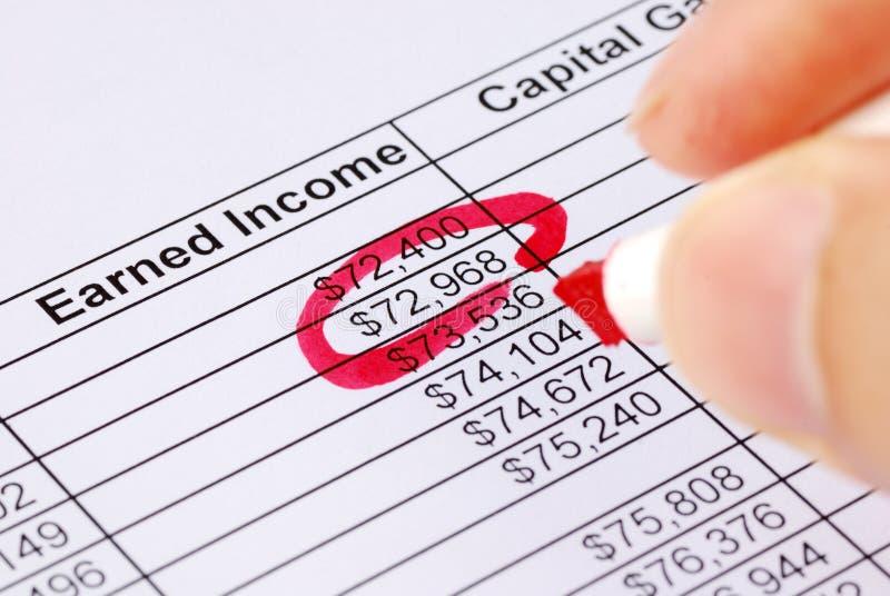 Kreisen Sie eine Zahl auf der Einkommenkalkulationstabelle ein lizenzfreie stockfotos