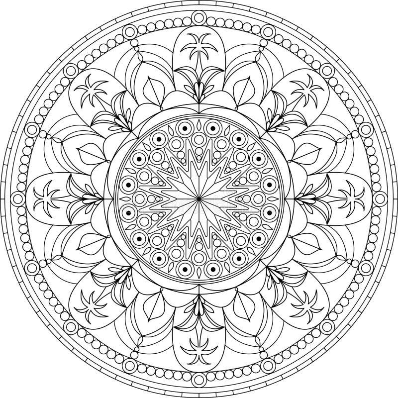 Kreisen Sie Erwachsene Farbtonseite Der Mandala, Mit Palme Ein ...