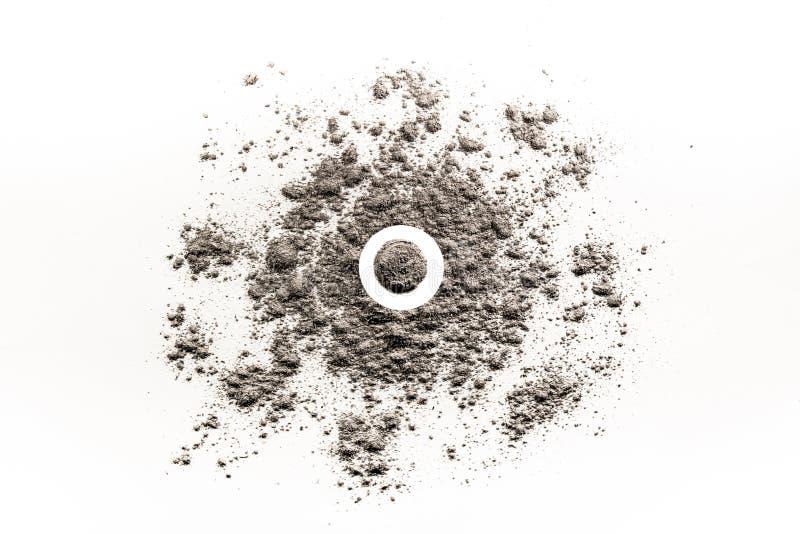 Kreisen Sie Form in einem Stapel der zerstreuten Asche, Sand, Staub ein lizenzfreie abbildung
