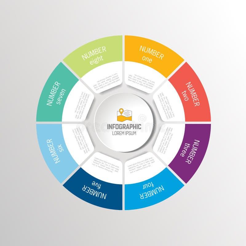 Kreisen Sie, runde infographic Wahlen, Teile, Schritte ein stock abbildung