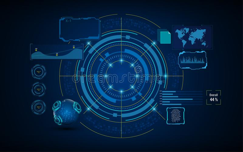 Kreisen Sie Schirm-Konzept des Entwurfes des virtuellen Systems der Services künstlicher Intelligenz HUD GUIs UI ein vektor abbildung