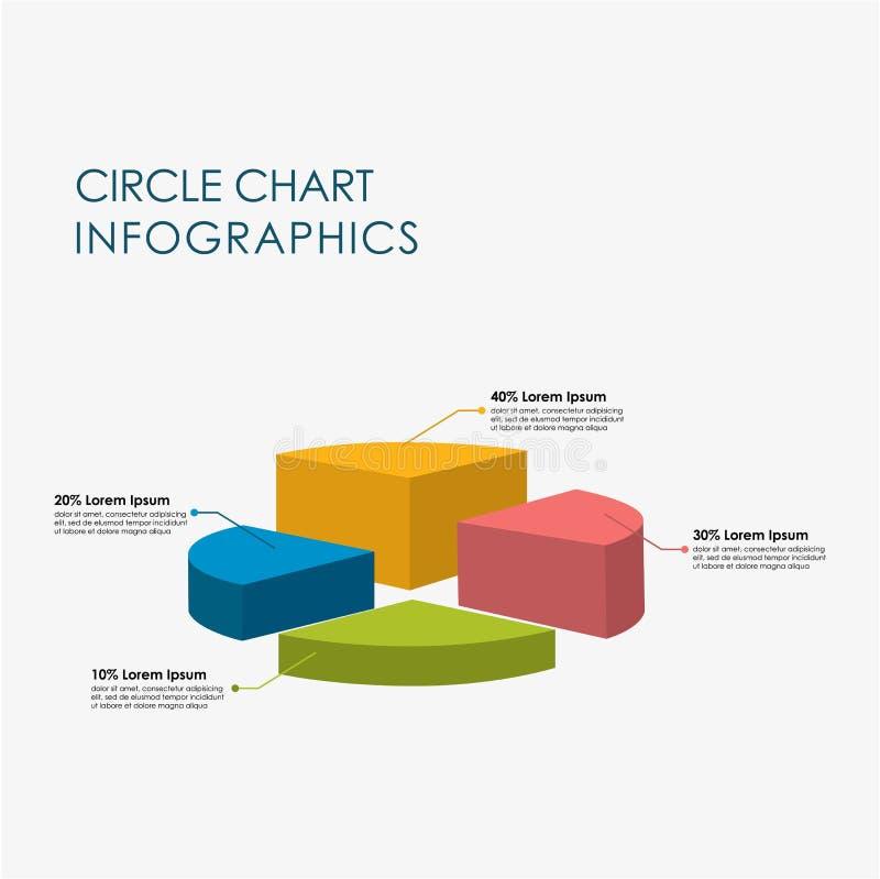 Kreisen Sie Vektor des Diagramm-Informations-Grafik-farbenreichen flachen Design-3D ein stock abbildung