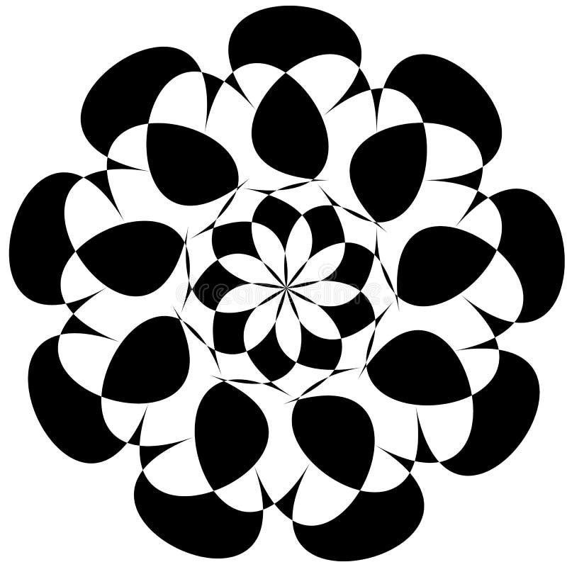 Kreisförmige geometrische Elemente, drehendes Ausstrahlen formt auf whi lizenzfreie abbildung