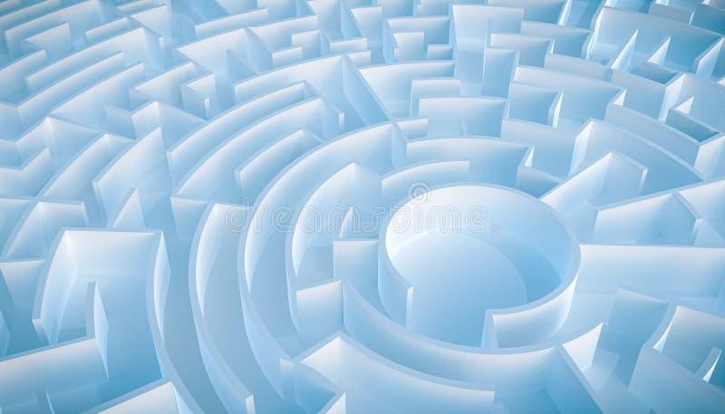 Kreisförmige leere Labyrinth- oder Labyrinthvogelperspektive lizenzfreie abbildung