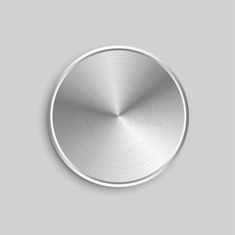 Kreisförmiger realistischer Metallknopf mit gebürsteter Stahloberfläche lizenzfreie abbildung
