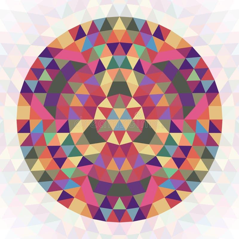 Kreisförmiges abstraktes geometrisches Dreieckkaleidoskopdesign - symmetrische Vektormustergraphik von farbigen Dreiecken vektor abbildung