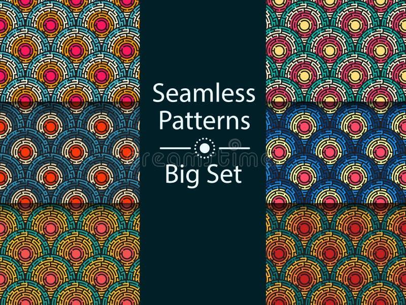 Kreisförmiges nahtloses Muster des farbigen Labyrinths, GROSSER SATZ, flach stock abbildung