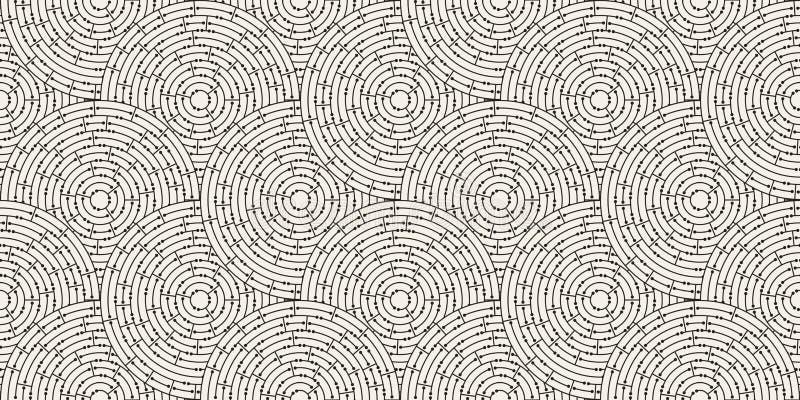 Kreisförmiges nahtloses Muster des farbigen Labyrinths mit Punkten, flach lizenzfreie abbildung