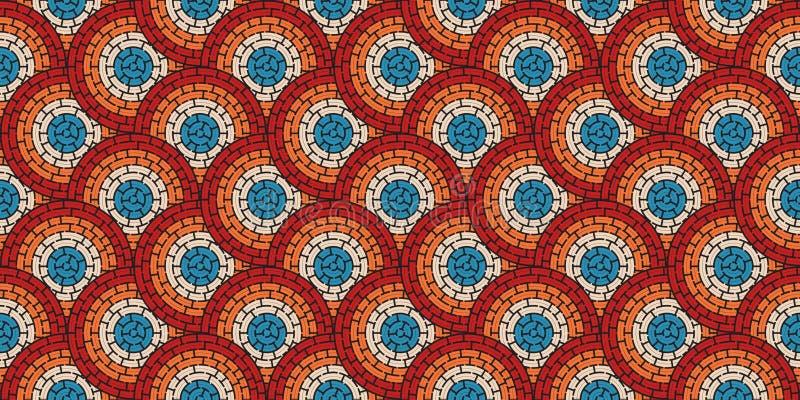 Kreisförmiges nahtloses Muster des farbigen Labyrinths mit Punkten, flach vektor abbildung