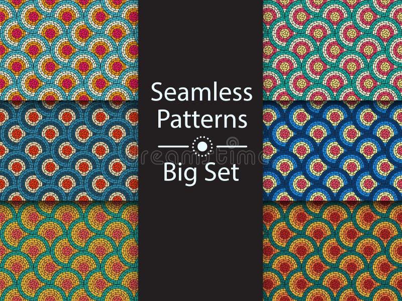 Kreisförmiges nahtloses Muster des farbigen Labyrinths, Vektor, GROSSER SATZ, flach stock abbildung